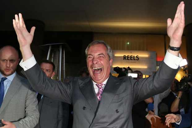 Nigel Farage celebrates at the Leave.EU referendum party (Getty, EH)