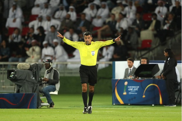 The referee will draw a square in the air to signify a TV screen when he wants to refer a decision to VAR (Getty)