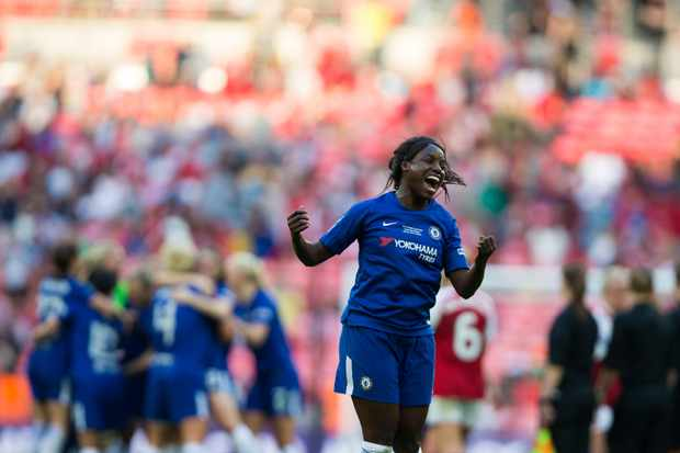 Eniola Aluko of Chelsea Ladies celebrates her side's victory after the SSE Women's FA Cup Final match between Arsenal Women and Chelsea Ladies at Wembley Stadium on May 5, 2018 in London, England. (Getty)