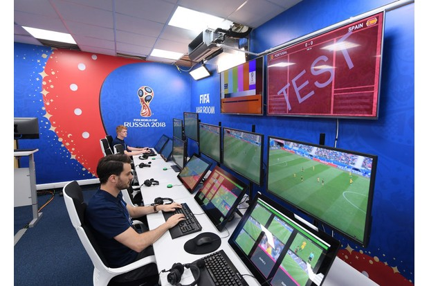 MOSCOW, RUSSIA - JUNE 09: A general view of the Video Assistant Referee's Room home of the VAR system to be used at all FIFA World Cup matches during the Official Opening of the International Broadcast Centre on June 9, 2018 in Moscow, Russia. (Photo by Laurence Griffiths/Getty Images)