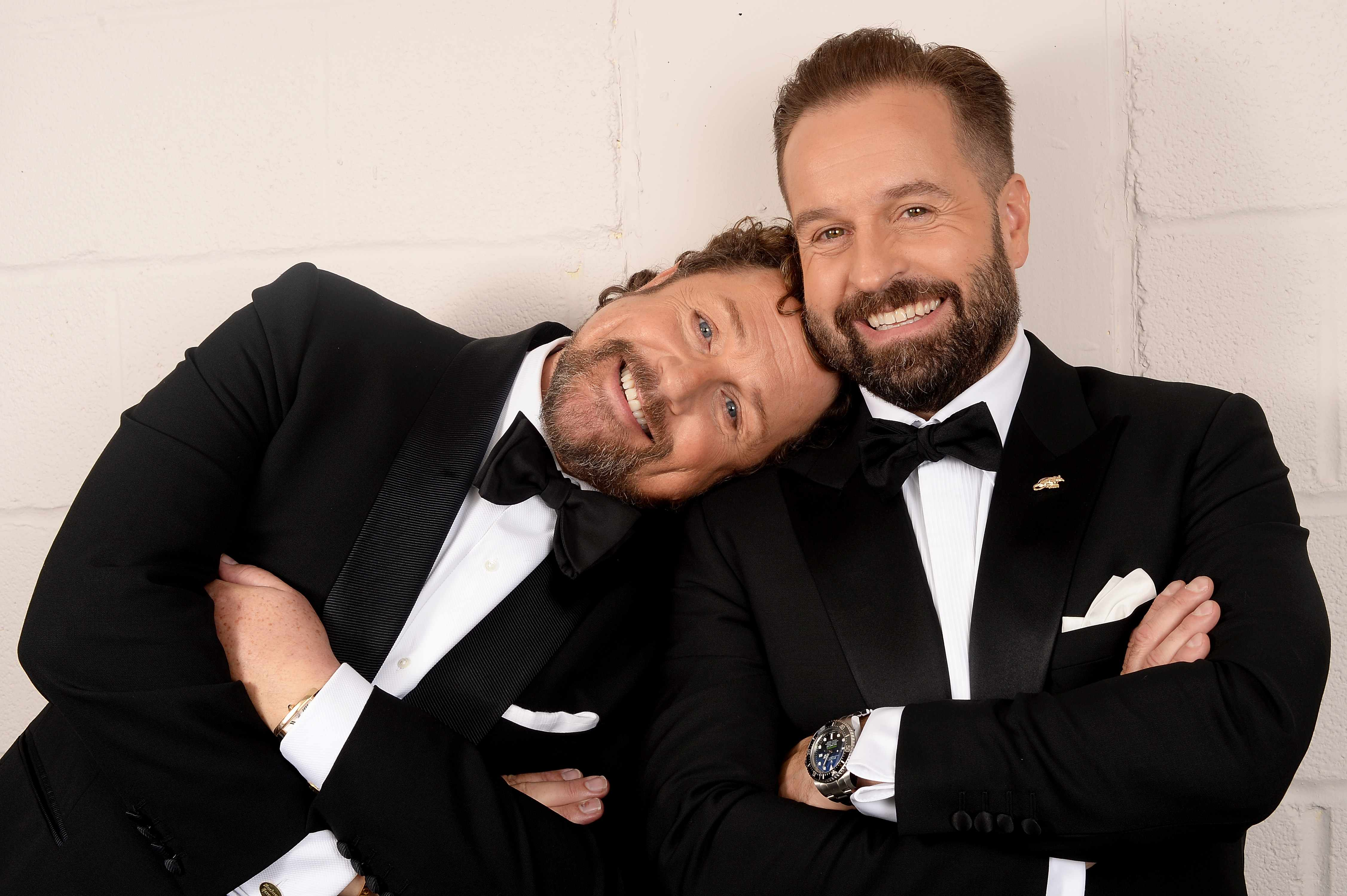 LONDON, ENGLAND - JUNE 13:  Michael Ball (L) and Alfie Boe pose backstage during the Classic BRIT Awards rehearsals at Royal Albert Hall on June 13, 2018 in London, England.  (Photo by Dave J Hogan/Dave J Hogan/Getty Images)