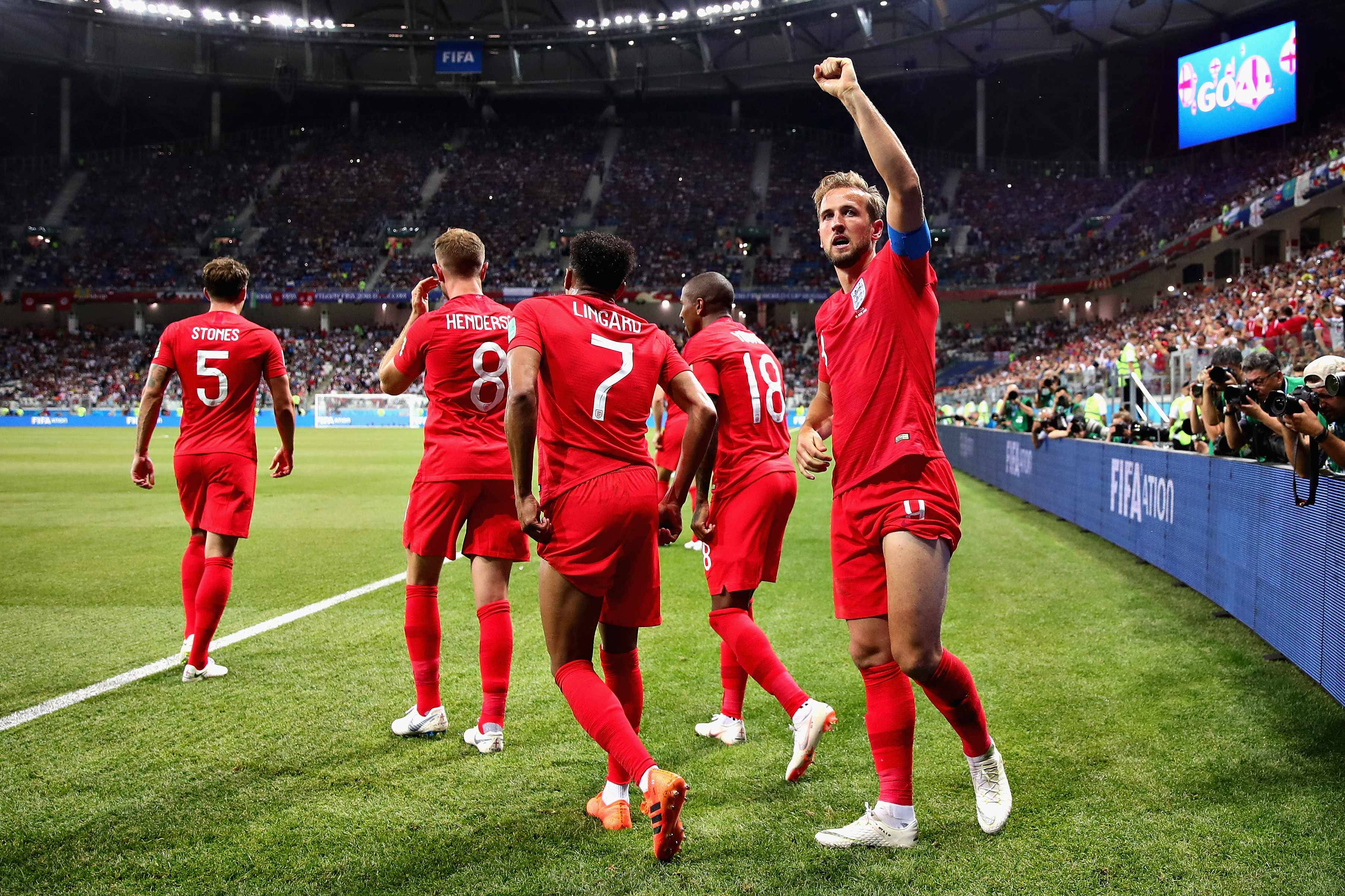 VOLGOGRAD, RUSSIA - JUNE 18:  Harry Kane of England celebrates after scoring his sides second goal during the 2018 FIFA World Cup Russia group G match between Tunisia and England at Volgograd Arena on June 18, 2018 in Volgograd, Russia.  (Photo by Chris Brunskill/Fantasista/Getty Images) TL