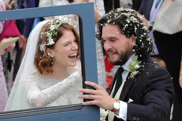 ABERDEEN, SCOTLAND - JUNE 23: Kit Harrington and Rose Leslie departing Rayne Church in Kirkton on Rayne after their wedding on June 23, 2018 in Aberdeen, Scotland. (Photo by Mark Milan/GC Images) TL