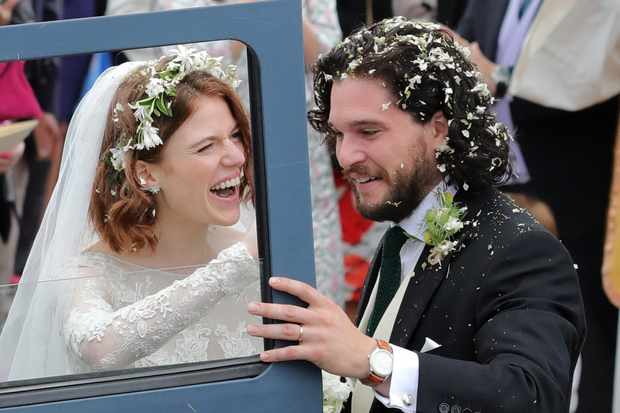Kit Harington And Rose Leslie Wedding Photos Couple Enjoy Game Of