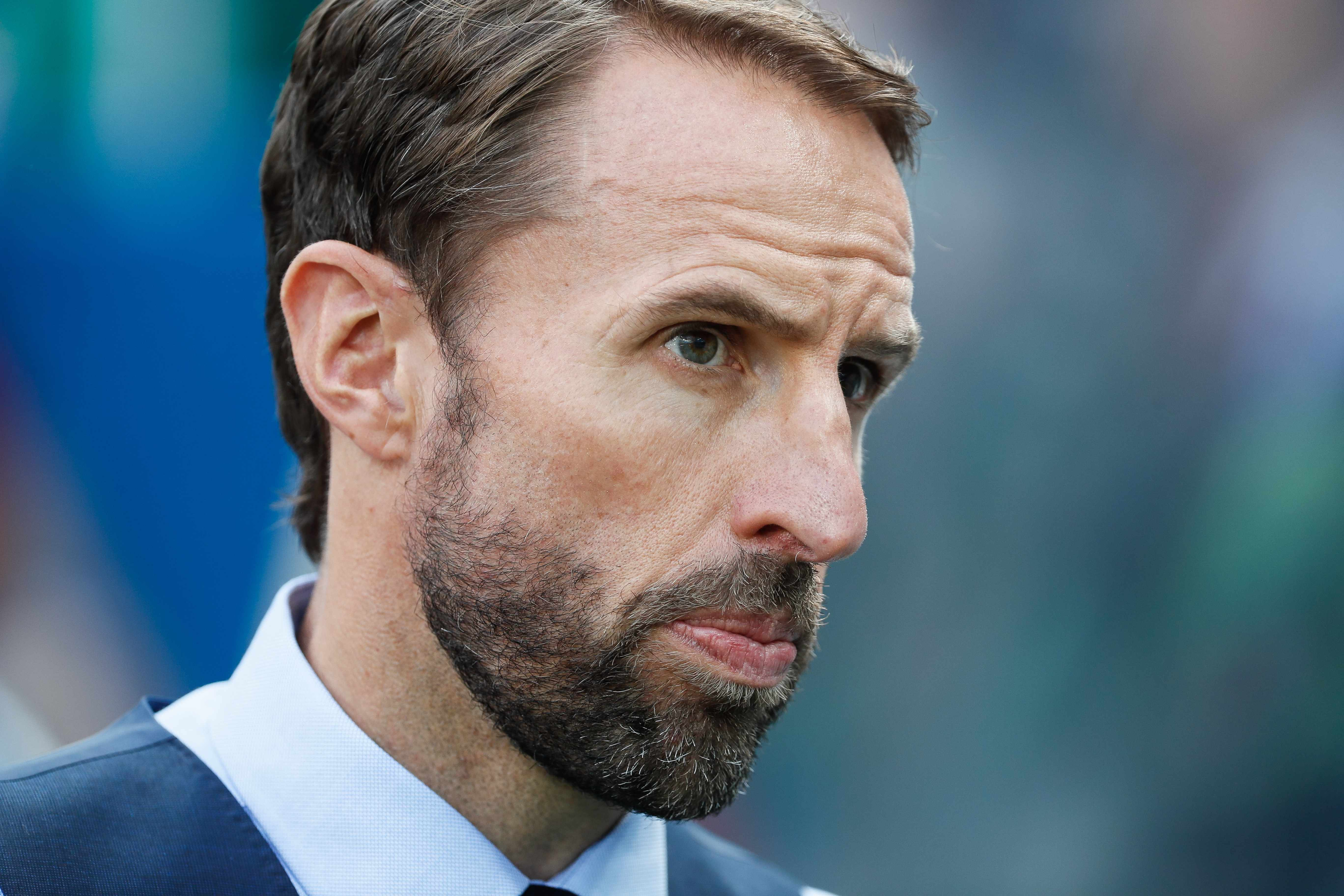 Gareth Southgate of England national team during the 2018 FIFA World Cup Russia group G match between England and Panama on June 24, 2018 at Nizhny Novgorod Stadium in Nizhny Novgorod, Russia. (Photo by Mike Kireev/NurPhoto via Getty Images)  Getty, TL