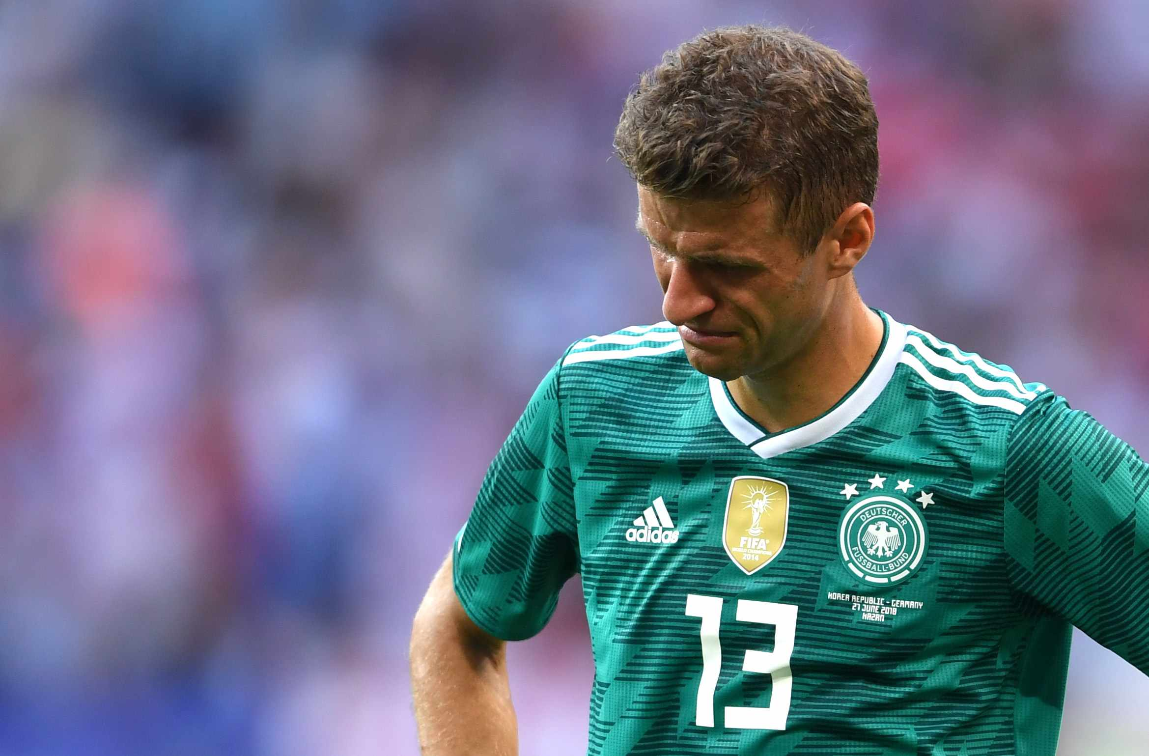 KAZAN, RUSSIA - JUNE 27:  Thomas Mueller of Germany looks dejected following his sides defeat in the 2018 FIFA World Cup Russia group F match between Korea Republic and Germany at Kazan Arena on June 27, 2018 in Kazan, Russia.  (Photo by Laurence Griffiths/Getty Images)  Getty, TL