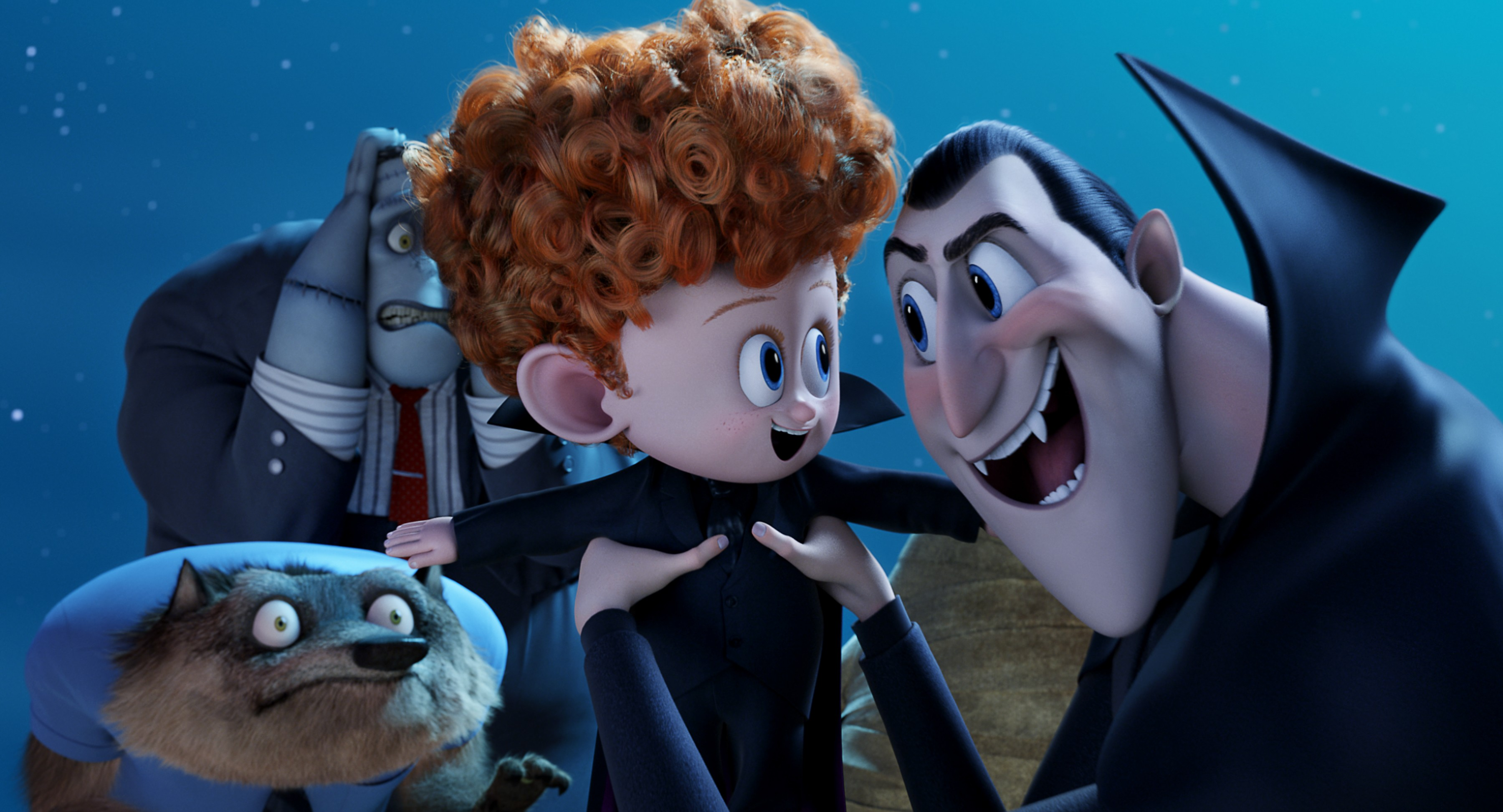 Dennis (Asher Blinkoff) and Dracula (Adam Sandler) with Wayne (Steve Buscemi) and Frank (Kevin James) looking on in Columbia Pictures and Sony Pictures Animations' HOTEL TRANSYLVANIA 2.