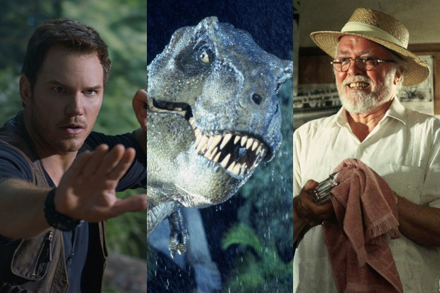 Chris Pratt, a T-Rex and Richard Attenborough in various Jurassic Park and/or Jurassic World movies