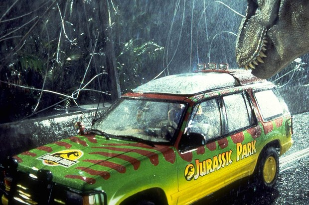 A T-Rex attacks a jeep in Jurassic Park (Sky, Universal, HF)