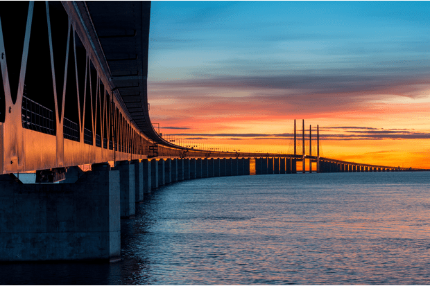 The Öresund Bridge across the Öresund strait between Sweden and Denmark
