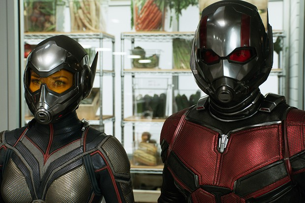 Evangeline Lilly as Hope van Dyne/The Wasp and Paul Rudd as Scott Lang/ Ant-Man in Ant-Man and the Wasp (Marvel, HF)