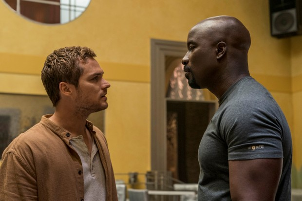 Finn Jones and Mike Colter in Marvel's Luke Cage (Netflix, HF)