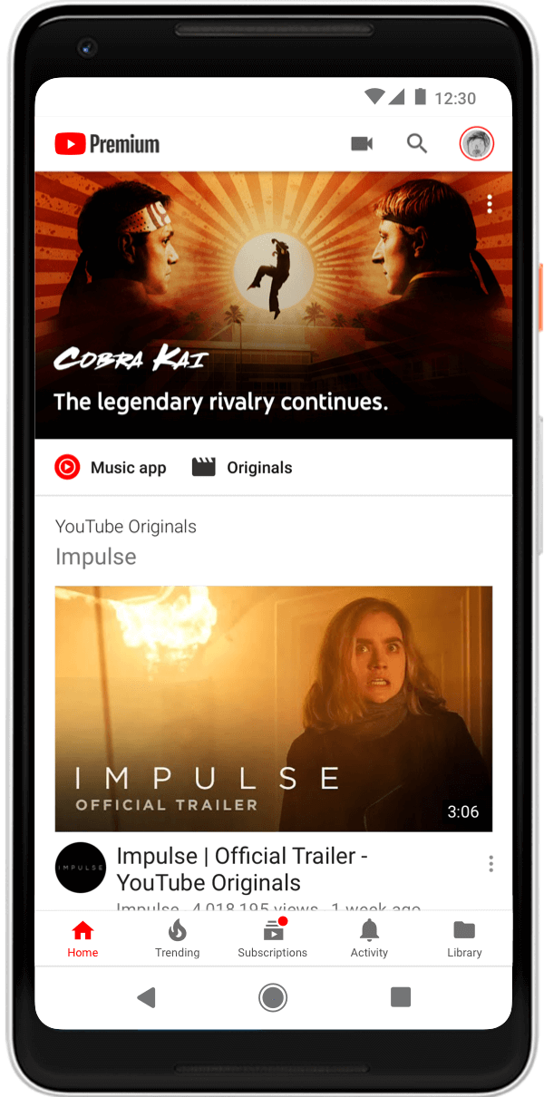 A screenshot of the YouTube Premium app, featuring original shows Cobra Kai and Impulse (YouTube)