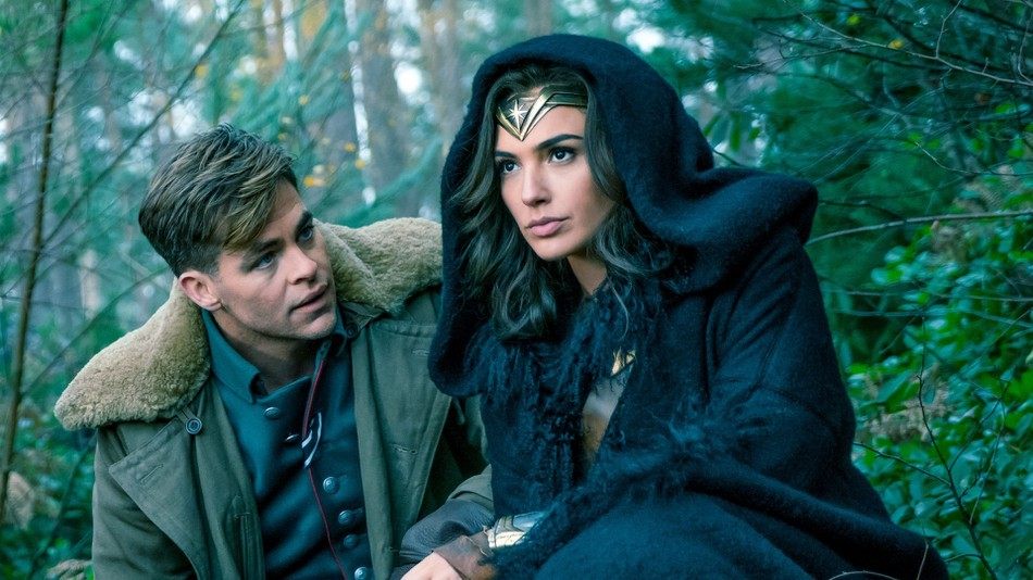 Chris Pine as Steve Trevor and Gal Gadot as Diana Prince/Wonder Woman in Wonder Woman (Warner Bros, HF)