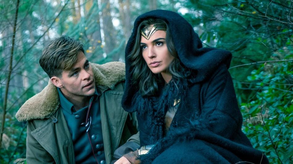 Chris Pine as Steve Trevor and Gal Gadot as Diana Prince/Wonder Woman in Wonder Woman (Warner Bros, HF)