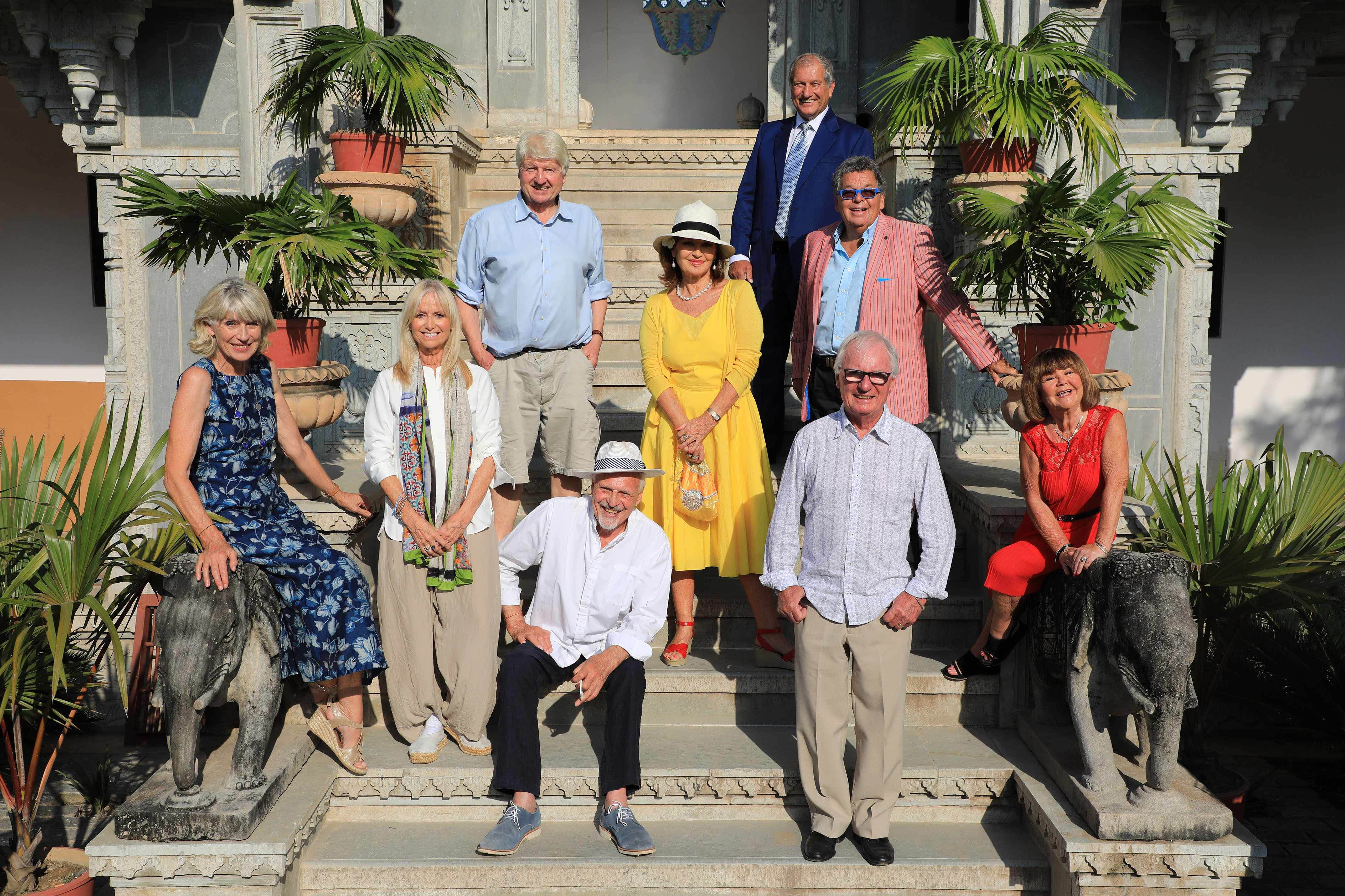 Programme Name: The Real Marigold Hotel S3 - TX: n/a - Episode: n/a (No. n/a) - Picture Shows: head off on an adventure of a lifetime to India, road-testing retirement in Udaipur, in the western Indian state of Rajasthan. Selina Scott, Susan George, Stanley Johnson, Peter Dean, Stephanie Beacham, Bob Champion, Ian Tough, Syd Little, Janette Tough - (C) Twofour/Nikolaz Godet - Photographer: Nikolaz Godet