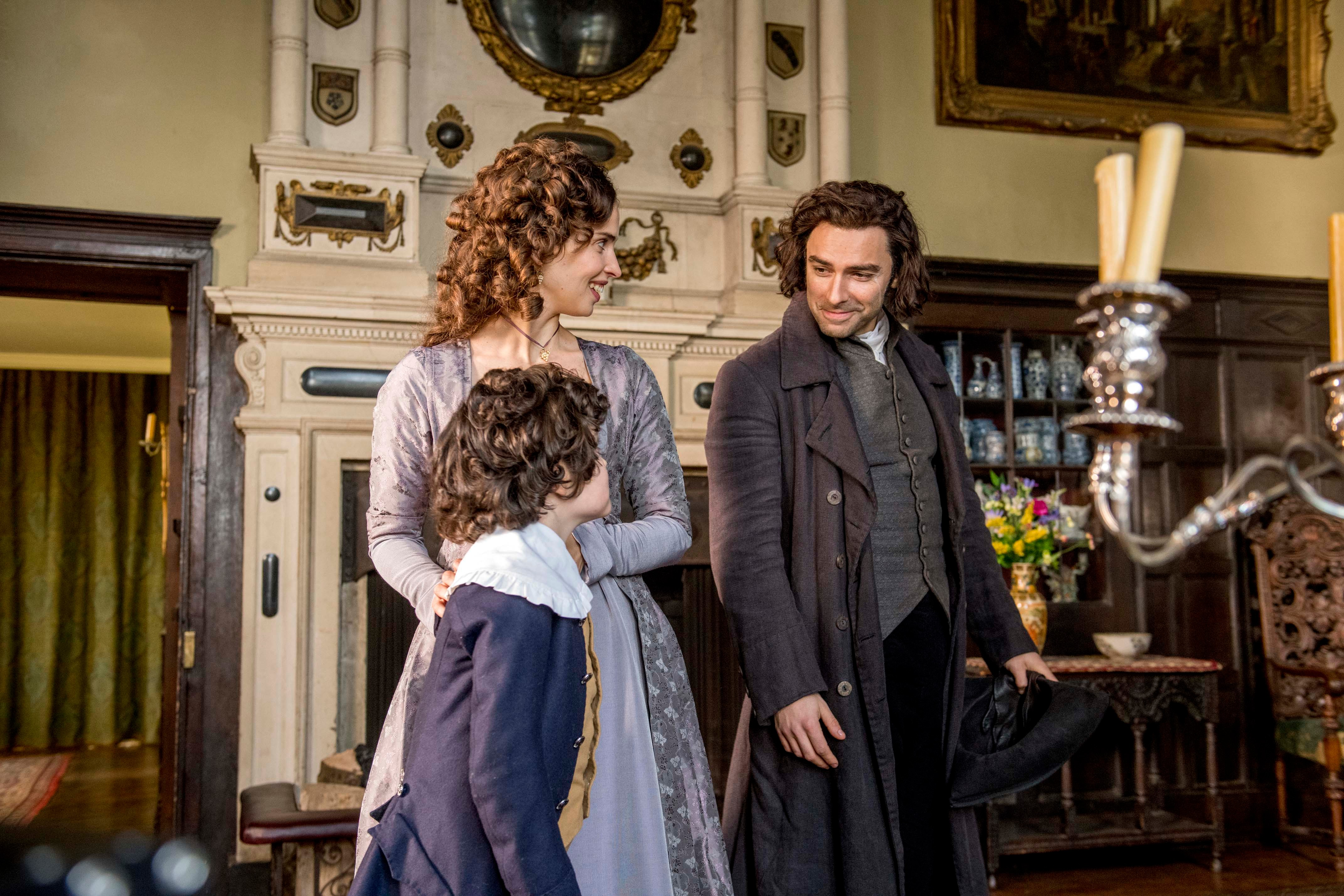 WARNING: Embargoed for publication until 00:00:01 on 03/07/2018 - Programme Name: Poldark - Series 4 - TX: n/a - Episode: Poldark S4 - EP5 (No. 5) - Picture Shows: ***EMBARGOED TILL 3RD JULY 2018*** Ross Poldark (AIDAN TURNER), Elizabeth (HEIDA REED), Valentine (ALFIE RIGBY) - (C) Mammoth Screen  - Photographer: Robert Viglasky