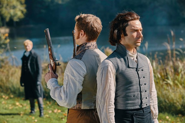 WARNING: Embargoed for publication until 00:00:01 on 17/07/2018 - Programme Name: Poldark - Series 4 - TX: n/a - Episode: Poldark S4 - EP7 (No. 7) - Picture Shows: ***EMBARGOED 17TH JULY 2018*** Monk Adderley (MAX BENNETT), Ross Poldark (AIDAN TURNER) - (C) Mammoth Screen - Photographer: Mike Hogan