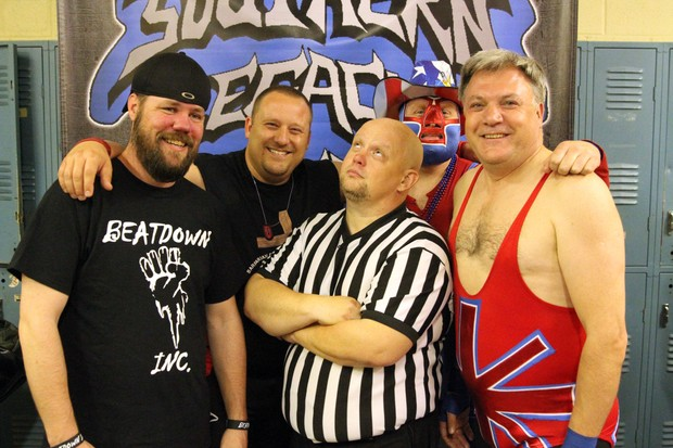 (R) with Southern Legacy wrestlers. Ed Balls(BBC)