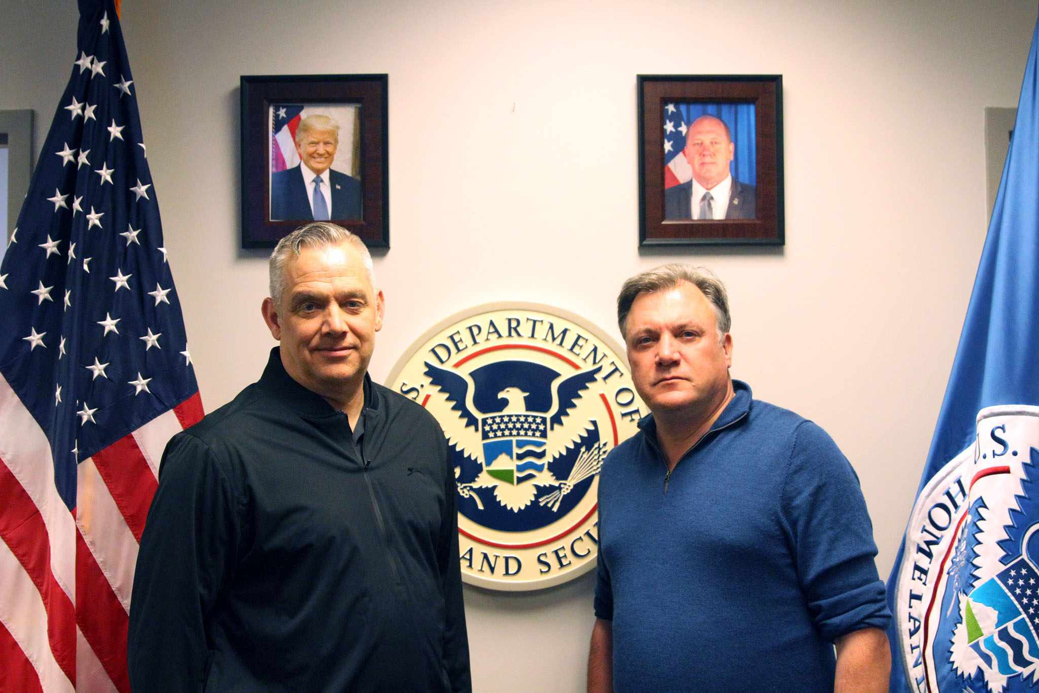 Programme Name: Travels in Trumpland with Ed Balls - TX: n/a - Episode: Making America Proud Again? (No. 1 - Making America Proud Again?) - Picture Shows: (R) with ICE (L) in front of Department of Homeland Security sign.  Ed Balls - (C) Expectation Entertainment Ltd - Photographer: Samuel Wilkinson