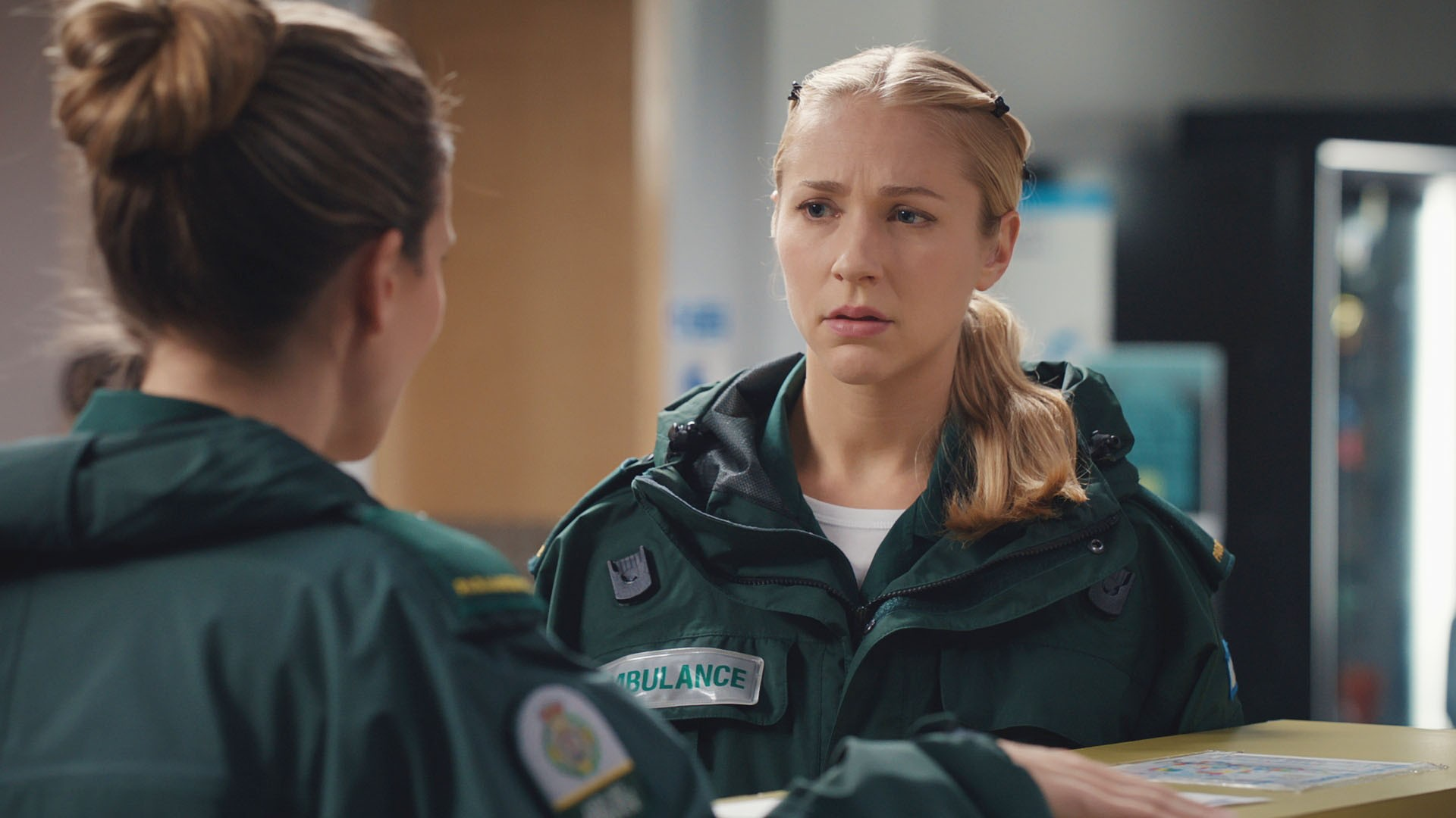 WARNING: Embargoed for publication until 00:00:01 on 17/07/2018 - Programme Name: Casualty - Series 32 - TX: 21/07/2018 - Episode:  Casualty - Series 32 - Episode 42 (No. 42) - Picture Shows:  Sam Nicholls (CHARLOTTE SALT), Ruby Sparks (MADDIE HILL) - (C) BBC - Photographer: n/a