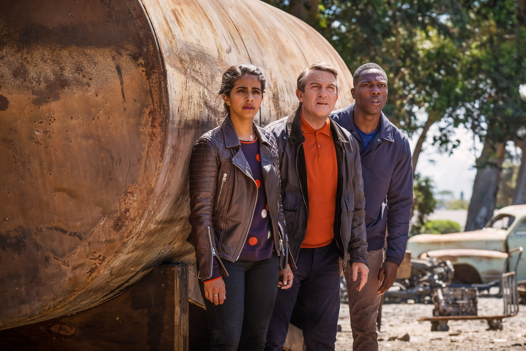 Mandip Gill, Bradley Walsh and Tosin Cole in Doctor Who series 11 (BBC, HF)