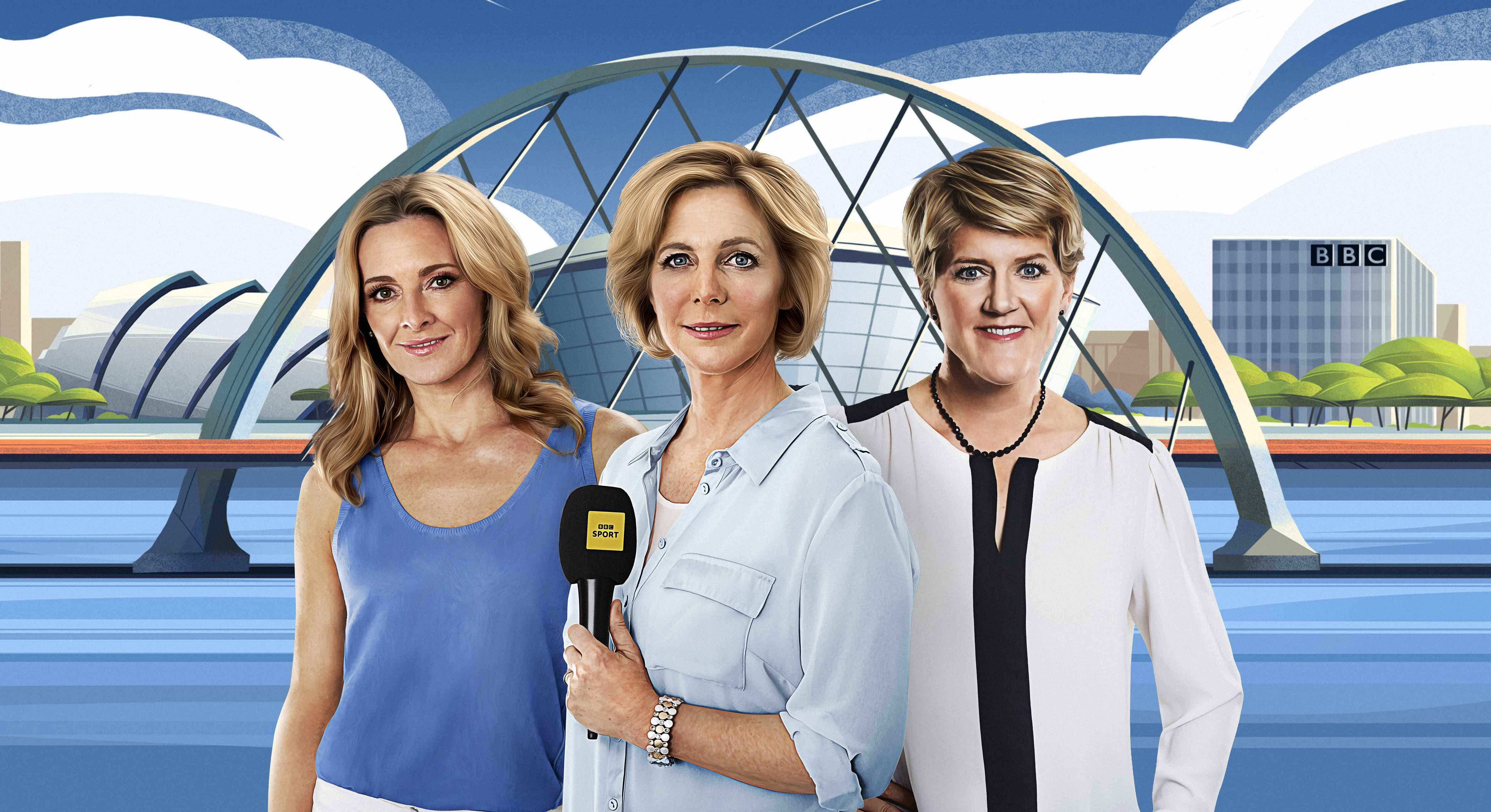 WARNING: Embargoed for publication until 10:00:01 on 24/07/2018 - Programme Name: Glasgow 2018 European Championships - TX: 02/08/2018 - Episode: Glasgow 2018 European Championships (No. n/a) - Picture Shows: ***STRICTLY EMBARGOED UNTIL 24/07/2018 10:00:01*** Gabby Logan, Hazel Irvine, Clare Balding - (C) BBC  - Photographer: N/A  TL