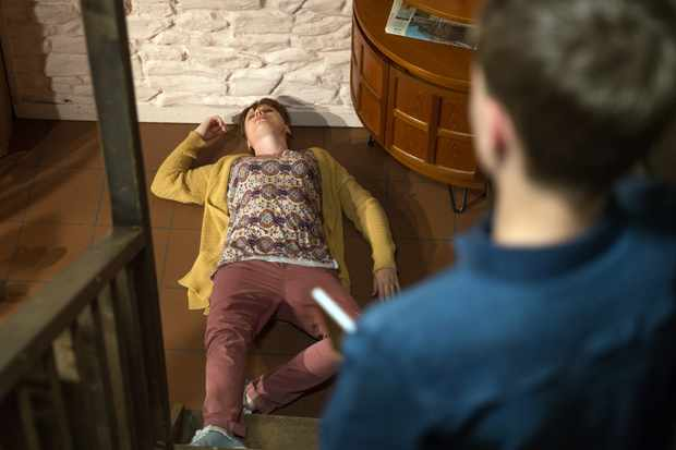 FROM ITV   STRICT EMBARGO  Print media - No Use Before Tuesday 24th July 2018 Online Media - No Use Before 0700hrs  Tuesday 24th July 2018  Emmerdale - Ep 821819  Tuesday 31st July 2018  Sam decides to come clean to his son and tells him the truth. Samson Dingle [SAM HALL] is shocked and accuses him of murdering his mum. Lydia [KAREN BLICK] tries to talk Samson round but he lashes out and accidentally pushes her down the stairs.   Picture contact - david.crook@itv.com  Photographer - Amy Brammall  This photograph is (C) ITV Plc and can only be reproduced for editorial purposes directly in connection with the programme or event mentioned above, or ITV plc. Once made available by ITV plc Picture Desk, this photograph can be reproduced once only up until the transmission [TX] date and no reproduction fee will be charged. Any subsequent usage may incur a fee. This photograph must not be manipulated [excluding basic cropping] in a manner which alters the visual appearance of the person photographed deemed detrimental or inappropriate by ITV plc Picture Desk. This photograph must not be syndicated to any other company, publication or website, or permanently archived, without the express written permission of ITV Plc Picture Desk. Full Terms and conditions are available on the website www.itvpictures.com