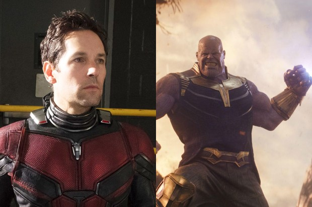 Paul Rudd as Ant-Man and Josh Brolin as Thanos (Marvel, HF)