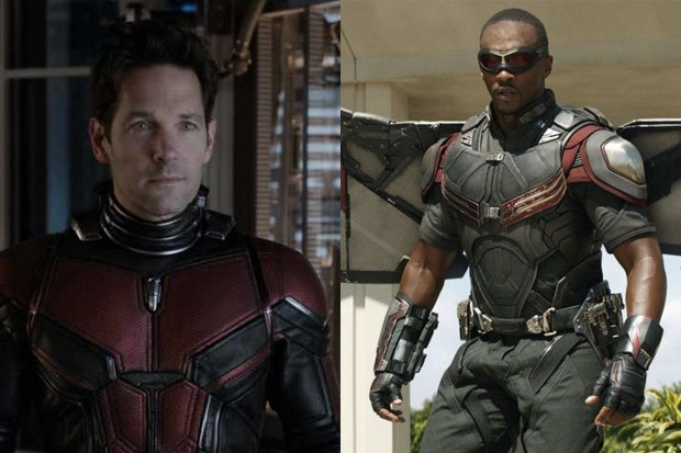 Paul Rudd as Scott Lang/Ant-Man and Anthony Mackie as The Falcon/Sam Wilson (Marvel, HF)