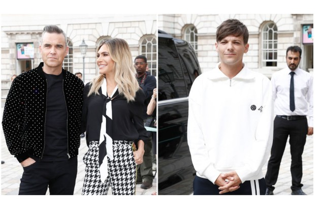 New X Factor judges Robbie Williams, Ayda Field and Louis Tomlinson attend The X Factor judges press conference on Tuesday 17th July (Getty)