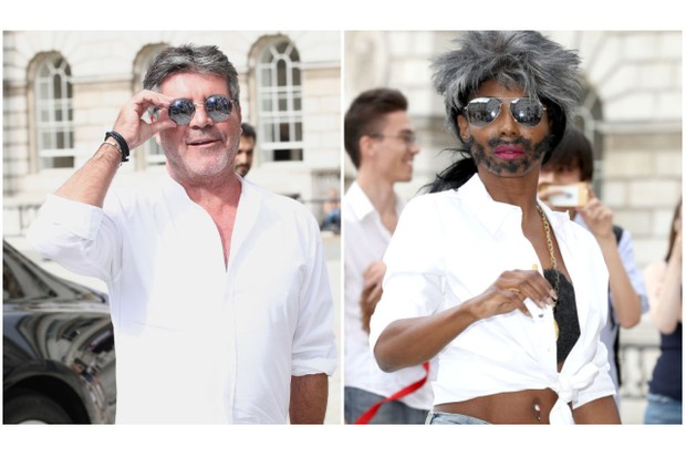 Simon Cowell and Sinitta (dressed as Simon Cowell, naturally) attend ITV's press conference announcing the new X Factor judges (Getty)