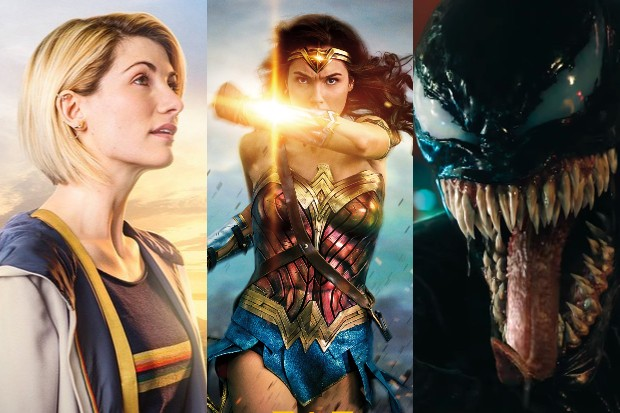 Jodie Whittaker as the Doctor with Gal Gadot's Wonder Woman and Tom Hardy's Venom (BBC, Warner Bros, Sony, HF)