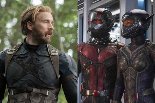 Chris Evans as Captain America with Paul Rudd and Evangeline Lilly as Ant-Man and the Wasp (Marvel, HF)