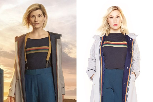 Jodie Whittaker as the Doctor, and a model in a version of her costume (BBC, HF)