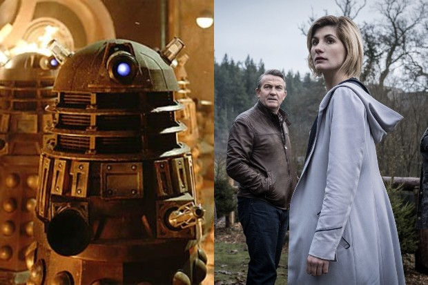 Daleks and Jodie Whittaker (with Bradley Walsh) in Doctor Who (BBC, HF)