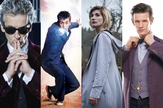 Doctor Who stars Peter Capaldi, David Tennant, Jodie Whittaker and Matt Smith (BBC, HF)