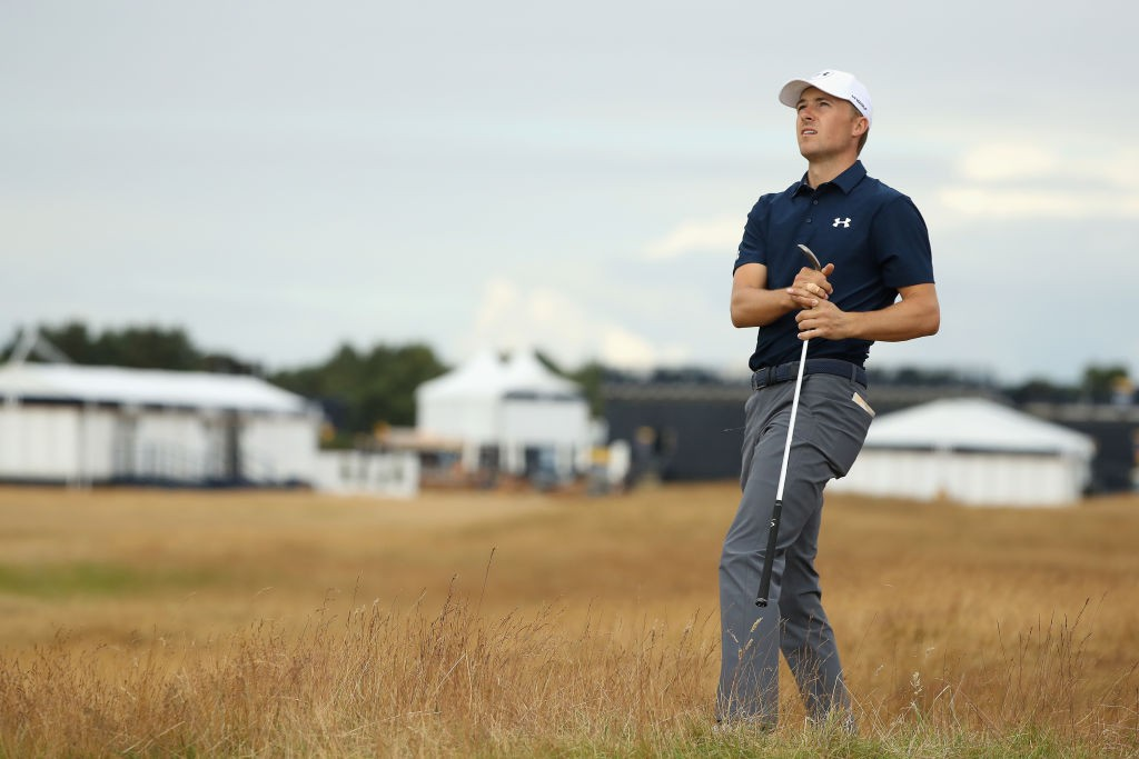CARNOUSTIE, SCOTLAND - JULY 17:  Jordan Spieth of the United States chips from the rough during previews to the 147th Open Championship at Carnoustie Golf Club on July 17, 2018 in Carnoustie, Scotland.  (Photo by Francois Nel/Getty Images)