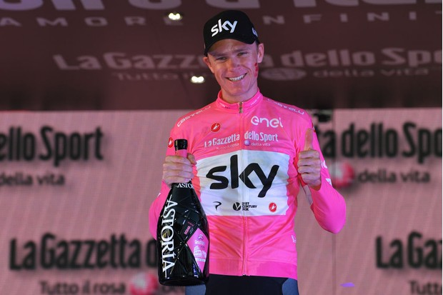 ROME, ITALY - MAY 27: Podium / Christopher Froome of Great Britain Pink Leader Jersey / Celebration / Champagne / during the 101st Tour of Italy 2018, Stage 21 a 115km stage from Rome to Rome / Giro d'Italia / on May 27, 2018 in Rome, Italy. (Photo by Justin Setterfield/Getty Images)