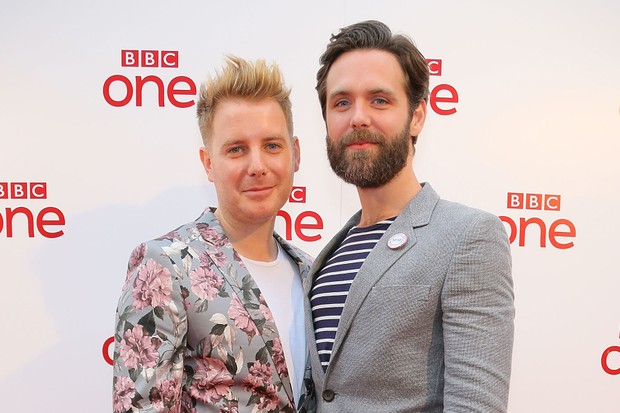 Osborne Whitworth actor Christian Brassington (left) stands with Poldark co-star Luke Norris (Getty)