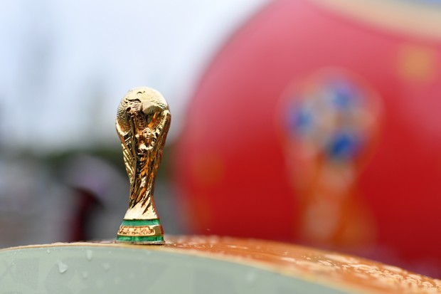 MOSCOW, RUSSIA - JUNE 08: In this photo illustration a replica of the FIFA World Cup Trophy is seen ahead of the 2018 FIFA World Cup on June 8, 2018 in Moscow, Russia. (Photo by Dan Mullan/Getty Images)