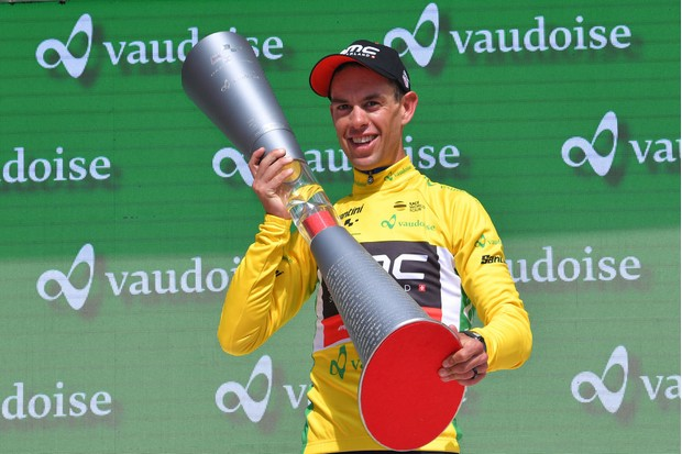 BELLINZONA, SWITZERLAND - JUNE 17: Podium / Richie Porte of Australia and BMC Racing Team Yellow Leader Jersey / Celebration / Trophy / during the 82nd Tour of Switzerland 2018, Stage 9 a 34,1km individual time trial stage from Bellinzona to Bellinzona on June 17, 2018 in Bellinzona, Switzerland. (Photo by Tim de Waele/Getty Images)