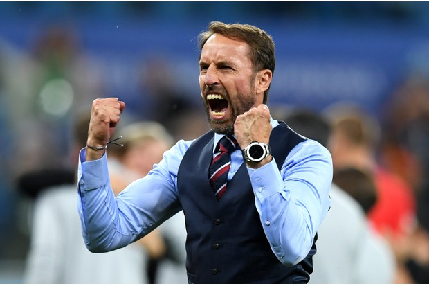 VOLGOGRAD, RUSSIA - JUNE 18: Gareth Southgate, Manager of England celebrates victory following the 2018 FIFA World Cup Russia group G match between Tunisia and England at Volgograd Arena on June 18, 2018 in Volgograd, Russia. (Photo by Matthias Hangst/Getty Images) TL