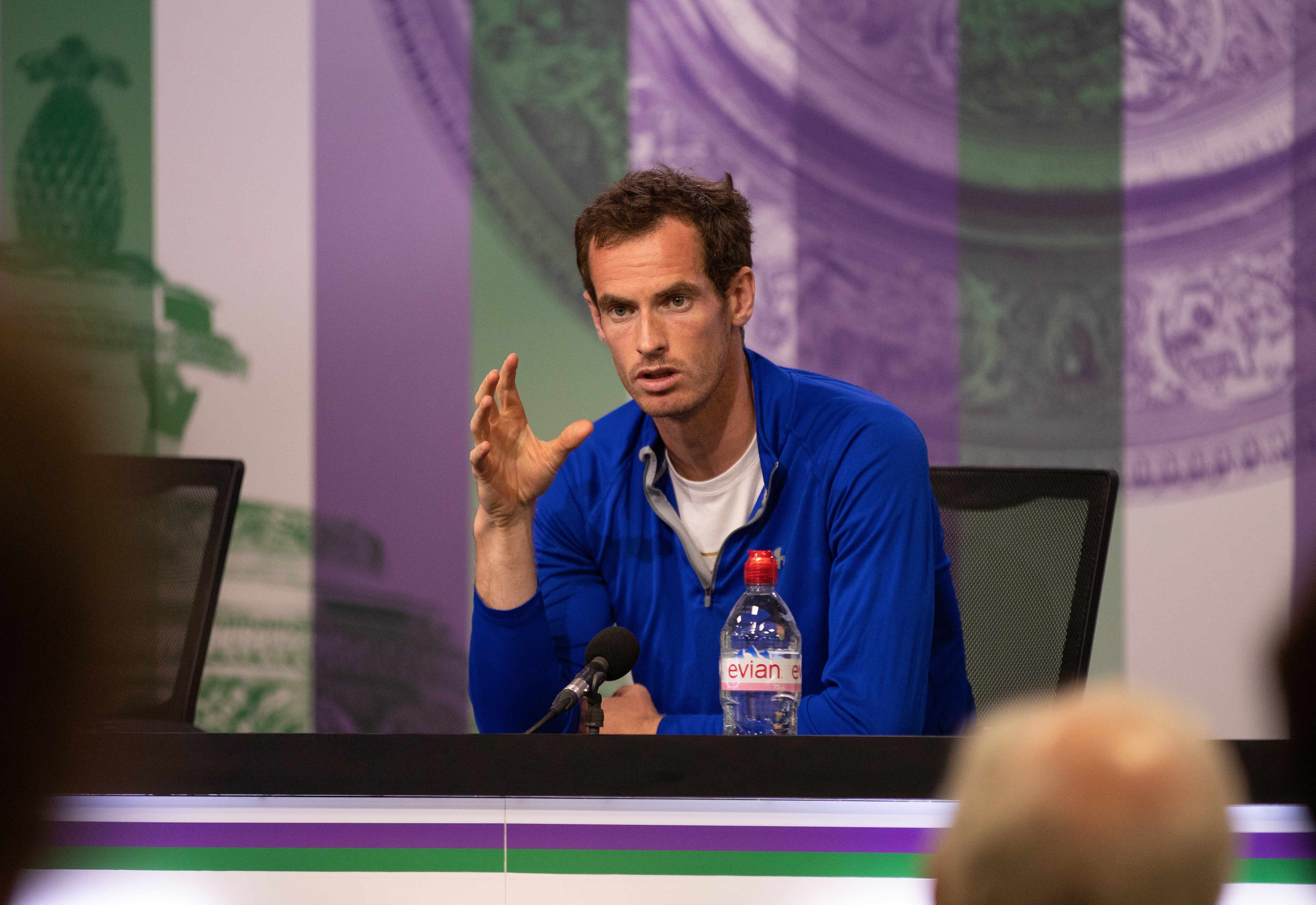 LONDON, ENGLAND - JUNE 30:  In this handout image provided by AELTC, Andy Murray GBR gives a Press Conference during the Wimbledon Lawn Tennis Championships at the All England Lawn Tennis and Croquet Club at Wimbledon on June 30, 2018 in London, England.  (Photo by AELTC/Ben Queenborough via Getty Images)  TL