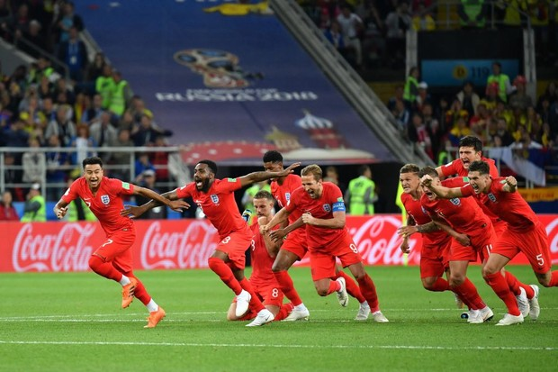 MOSCOW, RUSSIA - JULY 03: Players of England celebrate their 5-4 victory during the 2018 FIFA World Cup Russia Round of 16 match between Colombia and England at the Spartak Stadium on July 3, 2018 in Moscow, Russia. (Photo by Mao Jianjun/China News Service/VCG)