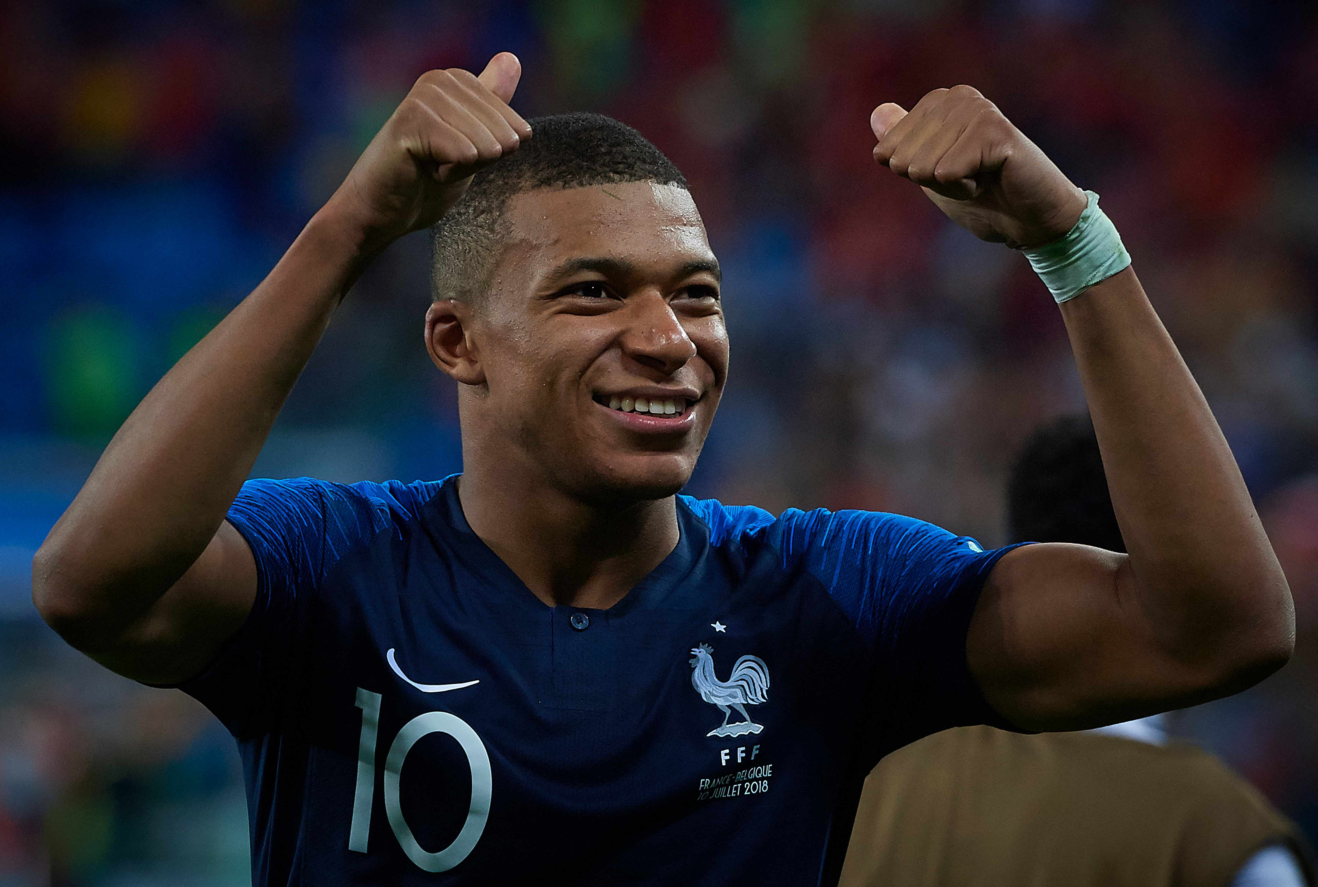SAINT PETERSBURG, RUSSIA - JULY 10:  Kylian Mbappe of France celebrates his team victory at the 2018 FIFA World Cup Russia Semi Final match between Belgium and France at Saint Petersburg Stadium on July 10, 2018 in Saint Petersburg, Russia.  (Photo by Quality Sport Images/Getty Images)  TL