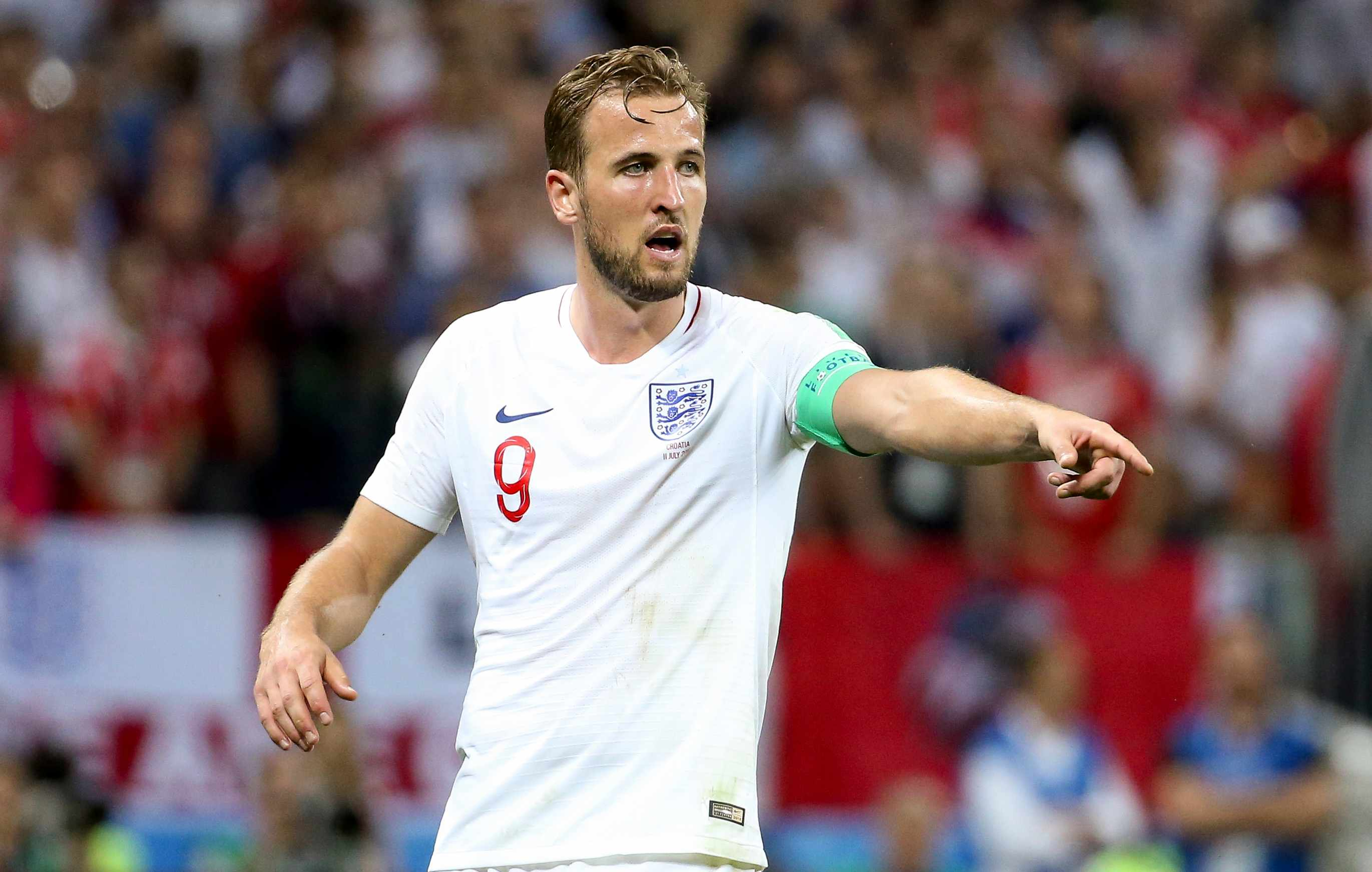 MOSCOW, RUSSIA - JULY 11: Harry Kane of England during the 2018 FIFA World Cup Russia Semi Final match between England and Croatia at Luzhniki Stadium on July 11, 2018 in Moscow, Russia. (Photo by Jean Catuffe/Getty Images)  TL