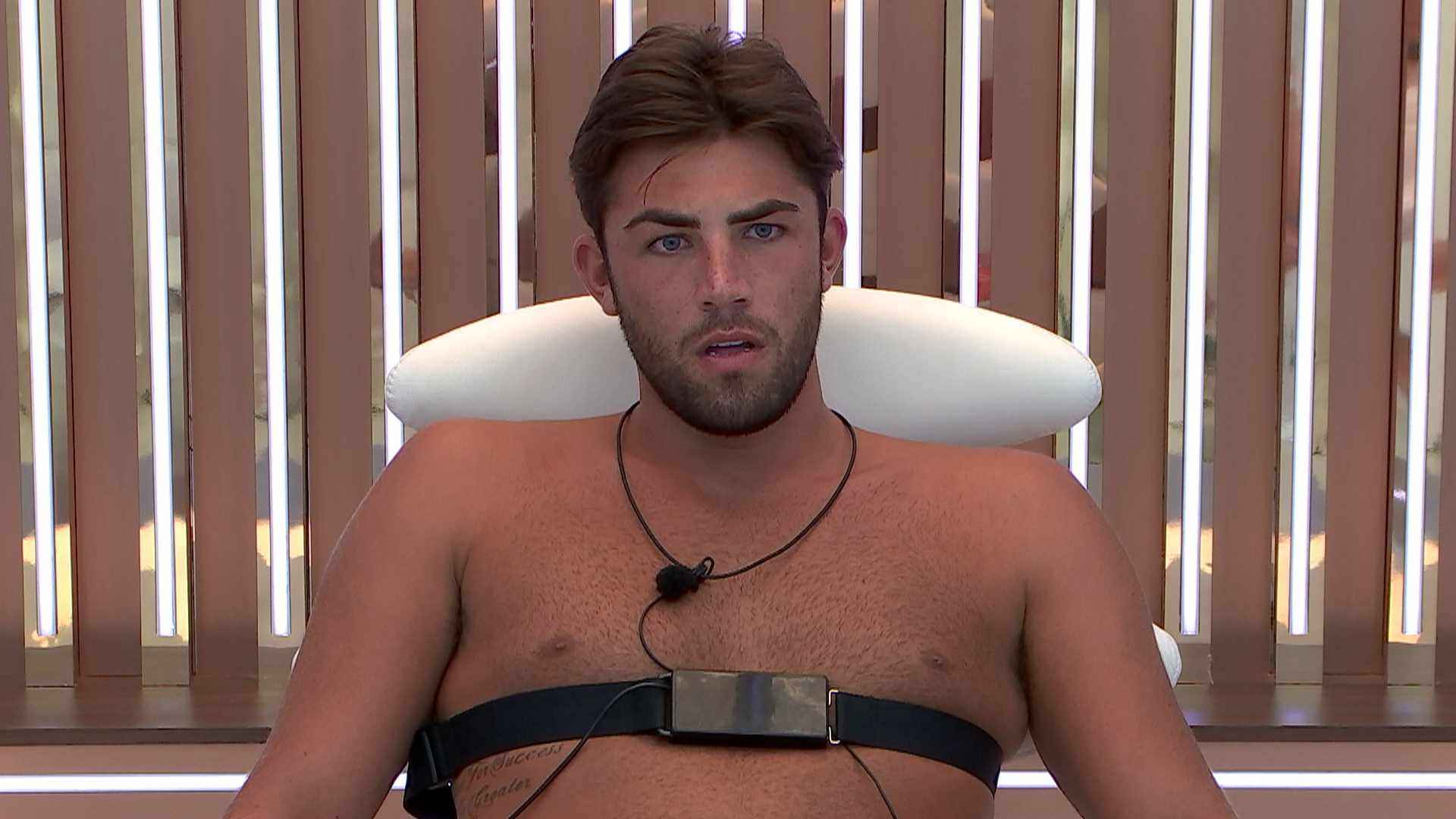 Jack taking the Love Island lie detector test