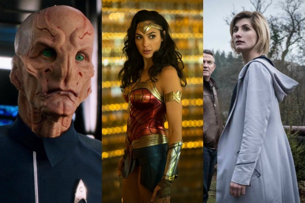 Star Trek; Discovery's Cmdr Saru with Wonder Woman and the Doctor (Netflix, Warner Bros, BBC, HF)