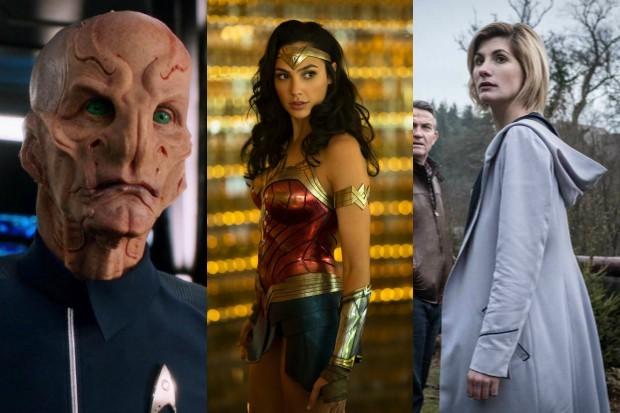 Star Trek; Discovery's Cmdr Saru with Wonder Woman and the Doctor (Netflix, Warner Bros, BBC, HF)